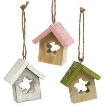 Wieszak dekoracyjny drewniany dom 5,5 cm x 4 cm x 6 cm 6 szt