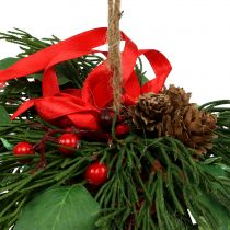 Wieszak świąteczny z szyszkami i jagodami 16cm