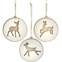 Wisiorek z jeleniem, medalion deco, drewniana ozdoba, adwent Ø9,5cm 6szt.