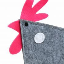 Deko Hahn aus Filz mit Punkten Grau, Weiß, Pink 30cm x 5cm H31,5cm Dekoracja wielkanocna, witryna sklepowa