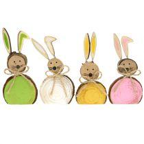 Ozdobny króliczek drewniany różne kolory 10cm 8szt.