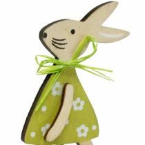 Drewniany króliczek na patyku zielony, żółty, różowy 8cm 12szt.