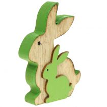 Ozdobny drewniany króliczek z dzieckiem 9cm różne kolory 6szt.