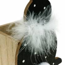 Bunny Planter Box Feather Boa Black, White Dotted Wood Easter Bunny