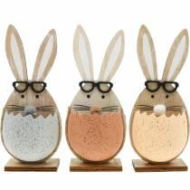 Królik drewniany w jajku, dekoracja wiosenna, króliki w okularach, zajączki wielkanocne 3szt
