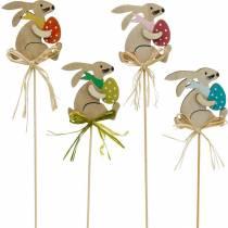 Zajączek z pisanką na patyku, zatyczka kwiatowa Zajączek wielkanocny, drewniana dekoracja wielkanocna, zatyczka dekoracyjna, dekoracja kwiatowa 12szt.