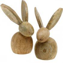 Dekoracja wielkanocna zajączek dekoracja drewniana siedzący zajączek wielkanocny natura 12cm 4szt.