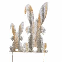 Dekoracja wielkanocna zajączek z dzieckiem do przyklejenia rdza brzoza wygląd metal 25×32cm