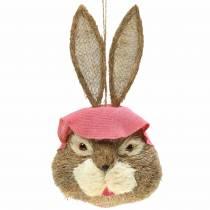 Dekoracje wielkanocne głowa króliczka do zawieszenia słomka H51cm