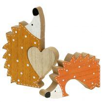 Dekoracja jesienna jeż para z sercem 15cm - 18cm