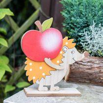 Jesienna figurka, Jeż z jabłkiem i grzybem, drewniana dekoracja pomarańczowa/czerwona H24/23,5cm Zestaw 2 szt.