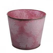 Jesienna doniczka, wiaderko na rośliny, Metal Deco z liśćmi Wine Red Ø25,5cm H22cm
