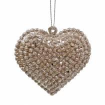 Brokatowe serce do zawieszenia szampana 6cm x 6,5cm 12szt