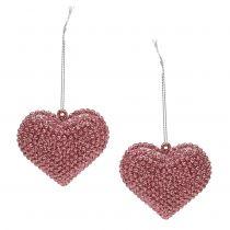 Serce różowe do zawieszenia z miką 6,5cm x 6,5cm 12szt.