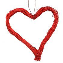 Serca z rafii do powieszenia czerwone 10 cm 12szt