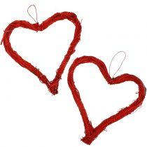 Serce rafia do powieszenia czerwone 15cm 8szt