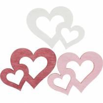Drewniane serduszka, prezenty na dekoracje stołu, Walentynki, dekoracje ślubne, podwójne serce 72szt