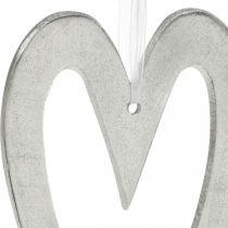 Deco Serce do Powieszenia Srebrna Aluminiowa Dekoracja Ślubna 22×12cm