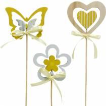 Wtyczka dekoracyjna motyl kwiat i serce, dekoracja wiosenna, wtyczka kwiatowa, walentynkowa 9szt.