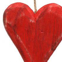 Serca drewniane wiszące czerwone, białe 11,5cm 4szt.