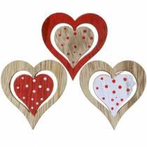 Serce czerwone, białe, naturalne drewno różne 4,5x4,5cm 24szt