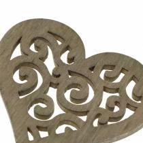 Dekoracja stołu serce drewno białe, kremowe, brązowe 4cm 72p