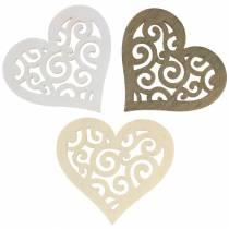 Dekoracja stołu serce drewno białe, kremowe, brązowe 4cm 72szt.