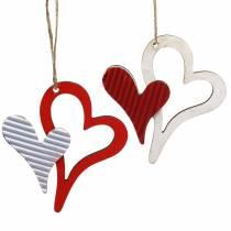 Drewniana zawieszka serce czerwone, białe 8cm 24szt.