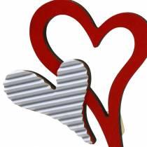 Kołek drewniany serce czerwony, biały 38cm 12szt.