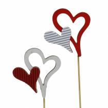 Drewniane kolczyki serca czerwone, białe 38cm 12szt