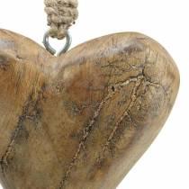 Wiszące Serce Mango Naturalne, Złote 14×11cm 2szt.