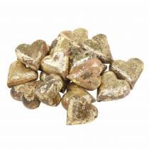 Serduszka z drewna naturalne, złote, srebrne Drewno mango 3,5–4,2cm × 3,6–4,5cm 18szt
