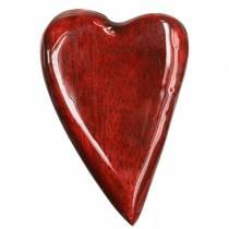 Serca z drewna mango szkliwione na czerwono 6,2–6,6 cm × 4,2–4,7 cm 16 szt