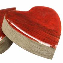 Serca z drewna mango Szkliwione Naturalne, Czerwone 4,3cm x 4,6cm 16szt.