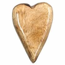 Serca z drewna mango glazurowane natura 6,2-6,6cm x 4,2-4,7cm 16szt.