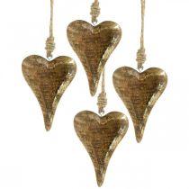 Drewniane serca z dekoracją złotą, drewno mango, zawieszka dekoracyjna 10cm × 7cm 8szt.