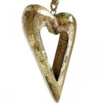 Serce dekoracyjne, drewno mango efekt złoty, drewniana dekoracja do powieszenia 13,5cm × 7cm 4szt.