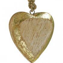 Wiszące serca, drewno mango, drewniana dekoracja z efektem złota 8,5cm × 8cm 6szt.