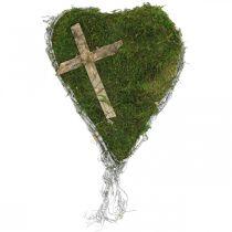 Dekoracja grobu serce z winorośli, mech z krzyżem do aranżacji grobu 30×20cm