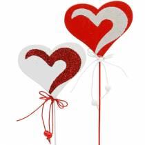 Serce na patyku Czerwone, Białe Deco Serce Wtyczka dekoracyjna Walentynki 16szt.