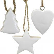 Ozdoby choinkowe drewniane mix serce gwiazda jodła choinka biała, natura 5cm 27szt.