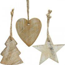 Zawieszka drewniana, jodła / serce / gwiazda, zestaw ozdób świątecznych H7,5/8cm 9szt.