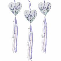 Serce z motywem lawendy do powieszenia, ślubne, śródziemnomorskie, letnie dekoracje, walentynki, lawendowe serce 4szt.