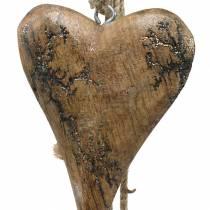 Drewniane serduszka z brokatowymi wstawkami na sznureczku do zawieszenia w kolorze naturalnym dł. 60 cm