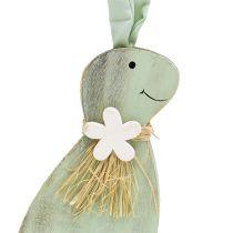 Drewniany króliczek zielony, brązowy 24cm 2szt