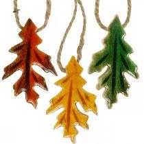 Dekoracyjne Wiszące Liście Drewniane Kolorowe Jesienne Dekoracje 6,5×4cm 12szt
