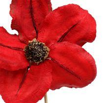 Kwiatek drewniany jako wtyczka czerwony Ø9cm - 12cm L45cm 15szt.