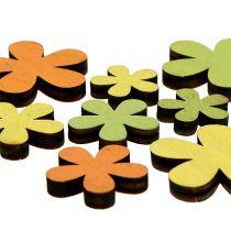 Kwiatek drewniany 2-3,5cm Pomarańczowy, Zielony, Żółty 36szt.