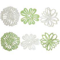 Kwiatek drewniany zielony/biały 5cm 36szt