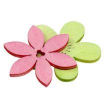 Drewniane kwiaty 4 cm pastelowy asortyment. 72St